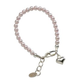 Cherished Moments Serenity 2 - Pink - Silver Bracelet w/pink Swarovski Pearls & heart (SM)