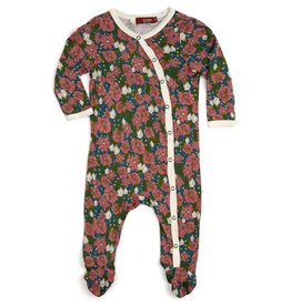 Milkbarn Kids Bamboo Footed Romper - Teal Floral