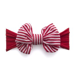 Baby Bling Bows Jersey Bow - Red/Cherry Stripe