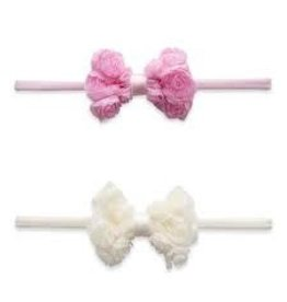 Baby Bling Bows Rose Bow Skinny: Pink + Ivory