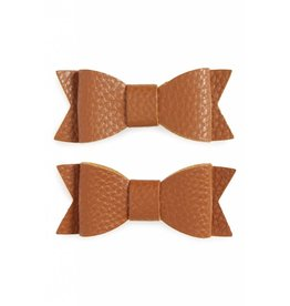 Baby Bling Bows Leather Bow Tie Clips 2 pack - Camel