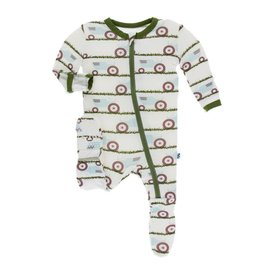 Kickee Pants Print Footie with Zipper - Natural Tractor and Grass