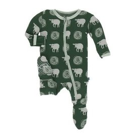 Kickee Pants Print Footie with Zipper - Topiary Tuscan Sheep