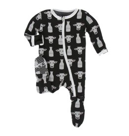 Kickee Pants Print Footie with Zipper - Zebra Tuscan Cow