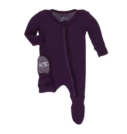 Kickee Pants Solid Classic Ruffle Footie with Zipper - Wine Grapes