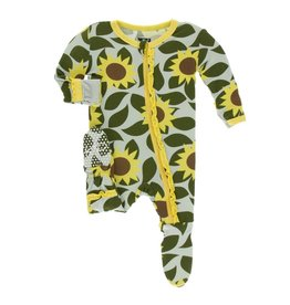 Kickee Pants Print Layette Classic Ruffle Footie with Zipper - Aloe Sunflower