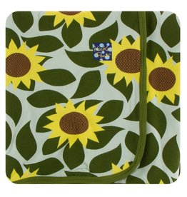 Kickee Pants Print Swaddling Blanket - Aloe Sunflower