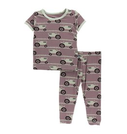 Kickee Pants Print Short Sleeve Pajama Set - Little Girls And Boys Raisin Tractor and Grass