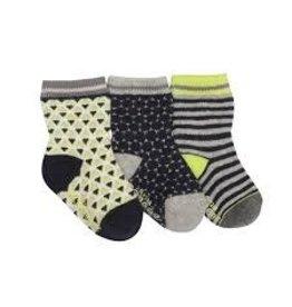 Robeez 3pk Socks - Geo - Grey/Navy/Lime 2-4y