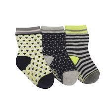 Robeez 3 Pk Socks, Geo - Grey/Navy/Lime 2-4y
