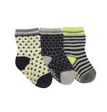 Robeez 3pk Socks - Geo - Grey/Navy/Lime 6-12m