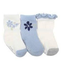 Robeez 3pk Socks - Pretty in Blue - Cream/Light Blue 0-6m