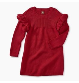 Tea Collection Ruffle Sleeve Sweater Dress - China Red  4