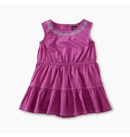 Tea Collection Embroidered Tiered Skirt Romper Dress Snapdragon 3-6M