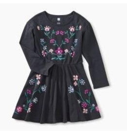 Tea Collection Nordic Floral Skater Dress - Jet Black 4