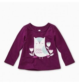 Tea Collection Hootie Cutie Graphic Tee - Cosmic Berry 6-9m