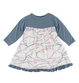 Kickee Pants Print Classic Long Sleeve Swing Dress Natural Japanese Cherry Tree 12-18M