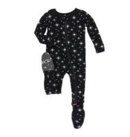 Kickee Pants Holiday Footie with Zipper: Silver Bright Stars NB Newborn