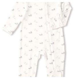 Angel Dear Bamboo Zipper Footie - Grey Baby Fox 3-6M