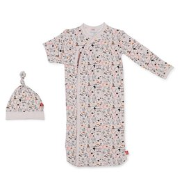 Magnetic Me Cirque Bebe Modal Magnetic Sack Gown + Hat - Pink NB-3m