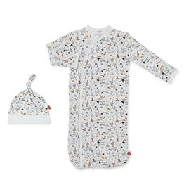 Magnetic Me Cirque Bebe Modal Magnetic Sack Gown/Hat - White/Black  NB-3M