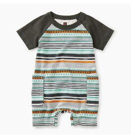 Tea Collection Print Raglan Cargo Romper - Rinjani Geo