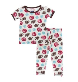 Kickee Pants Print Short Sleeve Pajama Set - Natural Sports 4