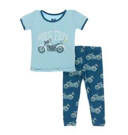 Kickee Pants Kickee Pants Short Sleeve Pajama Set: Heritage Blue Motorcycle 8Y