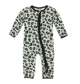 Kickee Pants Print Layette Classic Ruffle Coverall with Zipper - Aloe Cheetah Print 6-9M