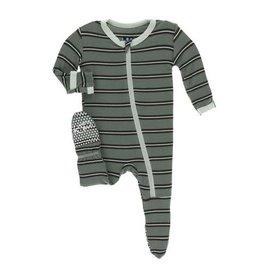 Kickee Pants Print Footie with Zipper - Succulent Kenya Stripe NB