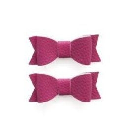 Baby Bling Bows Leather Bow Tie Clips 2 pack - Hot Pink