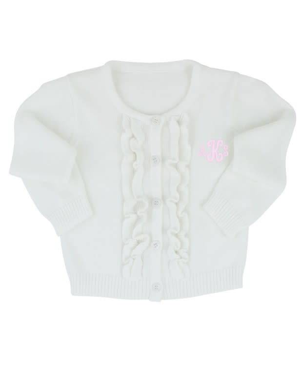 RuffleButts Ruffled Cardigan White