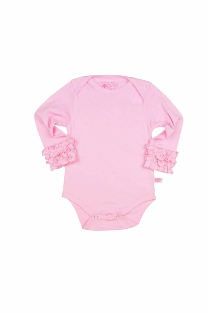 RuffleButts Pink Ruffled LS Bodysuit