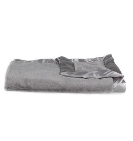 "Saranoni Receiving Blanket (30"" x 40"") Gray Lush Satin Border"