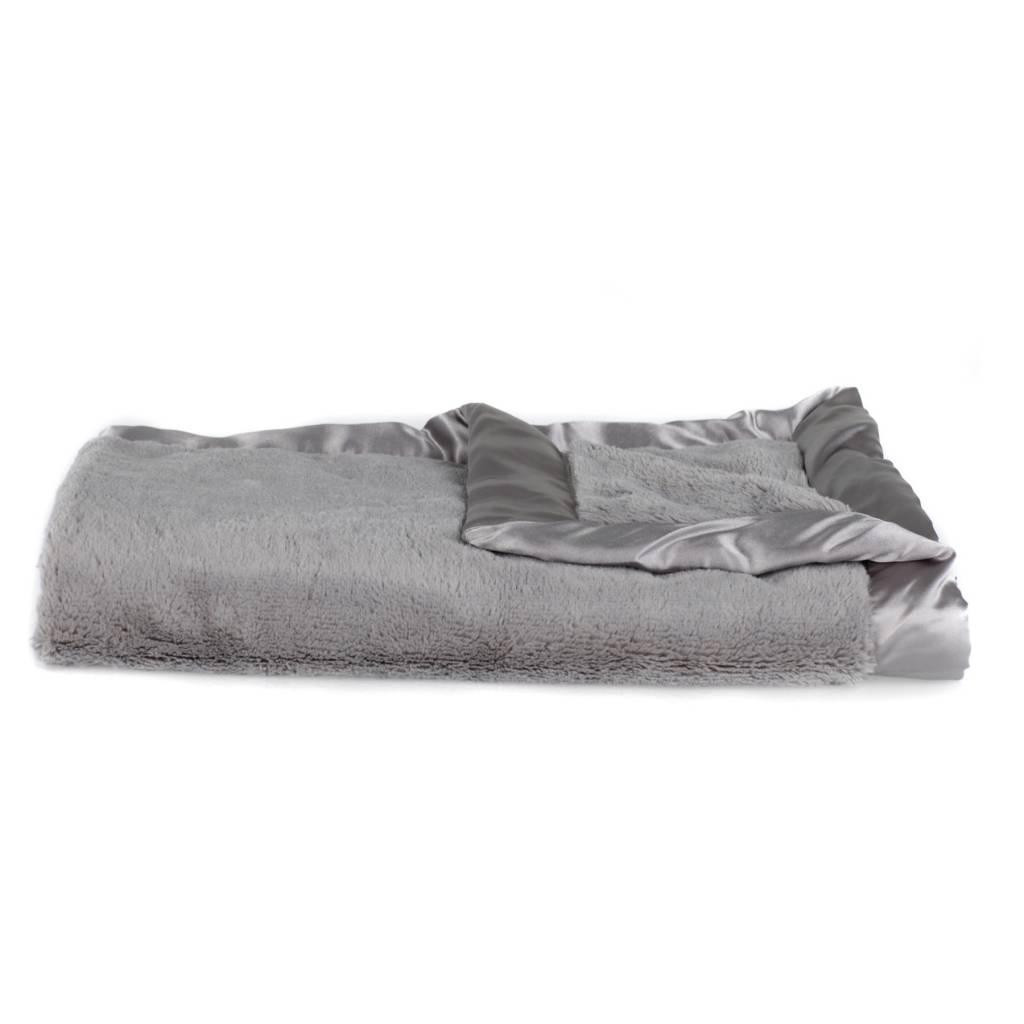 "Saranoni Receiving Blanket (30"" x 40"") Gray Lush Satin Border"