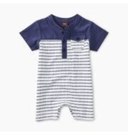 Tea Collection Henley Colorblocked Romper - Dashed Stripe
