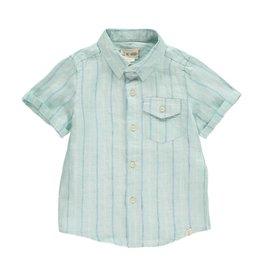 Me + Henry Striped Woven Linen Shirt, Green/Blue