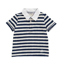 Me + Henry Navy Cotton/Poly Striped Polo