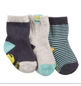 Robeez 3 Pk Socks, Eli Eleph Navy/Aqua/Grey