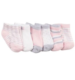 Robeez 6 Pk Socks, Shine Bright Pink/Silver