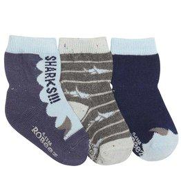 Robeez 3 Pk Socks, Sharks Navy/Sky/Grey
