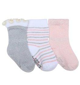 Robeez 3pk Socks - Stripes Dots Silver/Pink/WH