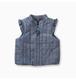 Tea Collection Baby Girl Chambray Zip Vest