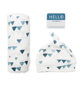 Mary Meyer Hat & Swaddle Set, Triangle Blue