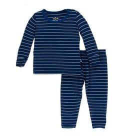 Kickee Pants Print Long Sleeve Pajama Set Tokyo Navy Stripe
