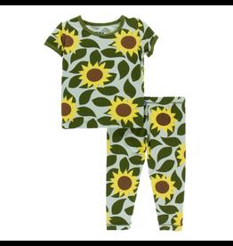 Kickee Pants Print Short Sleeve Pajama Set - Aloe Sunflower
