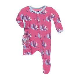 Kickee Pants Classic Layette Footie with Snaps Flamingo Sailing Race Preemie