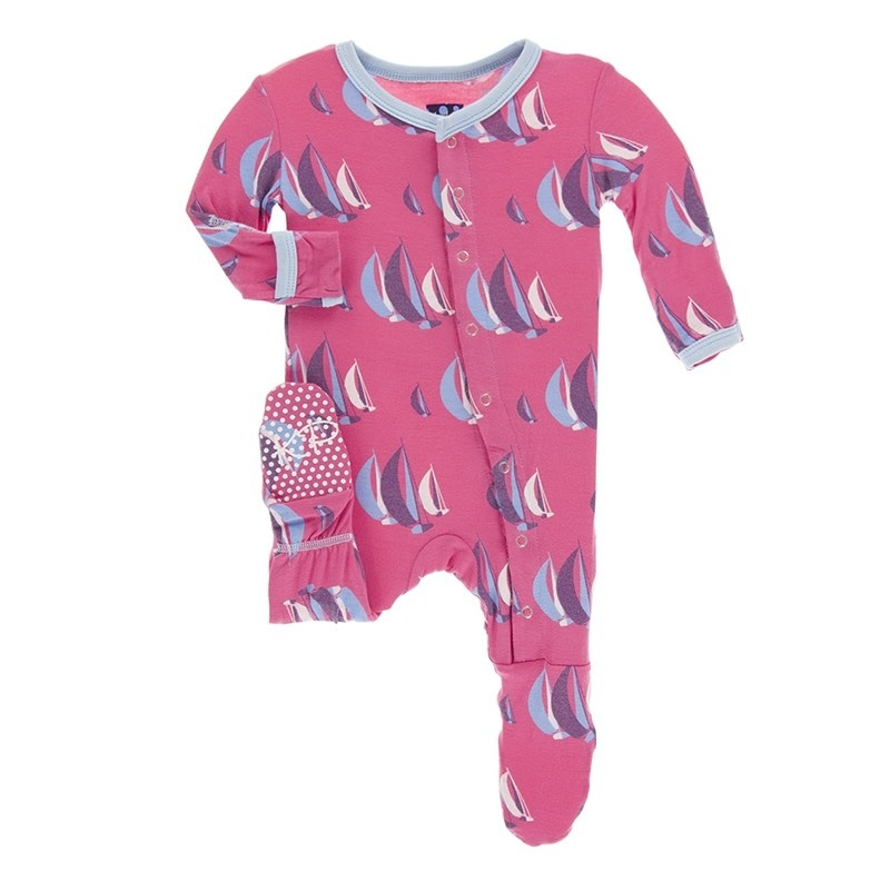 Kickee Pants Preemie Classic Layette Footie with Snaps Flamingo Sailing Race Preemie