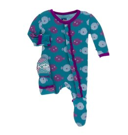 Kickee Pants Classic Layette Ruffle Footie Seagrass Puffer Preemie