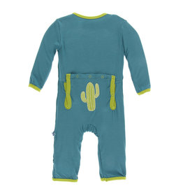 Kickee Pants Applique Coverall with Snaps Seagrass Cactus
